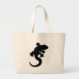 Black gecko large tote bag