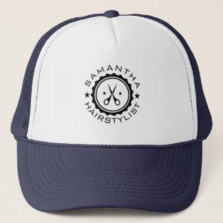 Black Geometric Circle & Hairstylist Scissors Trucker Hat