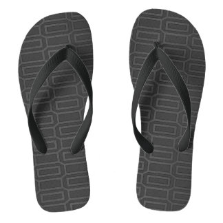 Black Geometric Pattern Fifties Collection Flip Flops