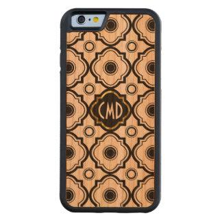 Black Geometric Quatrefoil Pattern Gold Accent Cherry iPhone 6 Bumper