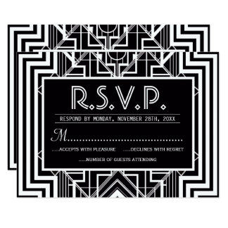 Black Geometric RSVP Cards