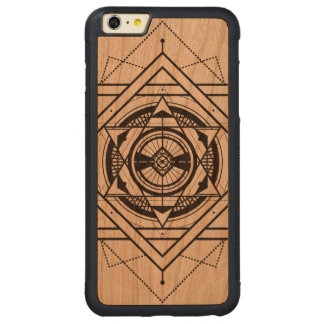 Black Geometric Secret Geometry Design Carved® Cherry iPhone 6 Plus Bumper Case
