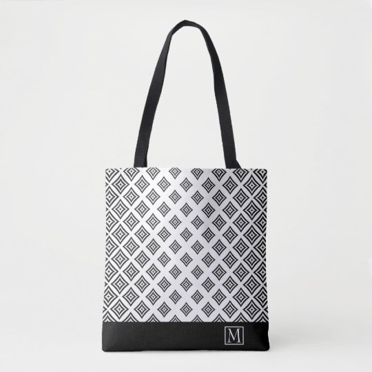 Black Geometric Shapes And Stripe Tote Bag