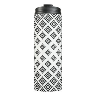Black Geometric Shapes Over White Background Thermal Tumbler