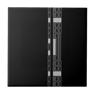 Black Geometric Stripe Art Deco Style Ceramic Tile