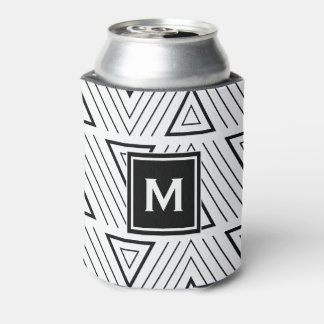 Black Geometric Traiangles Pattern Monogram Can Cooler