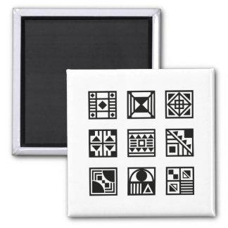Black geometrical tribal pattern magnet