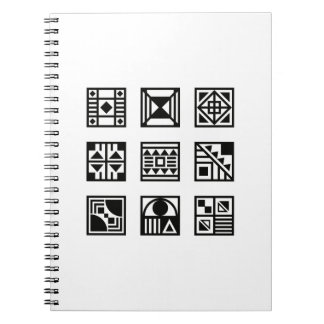 Black geometrical tribal pattern photo book notebook