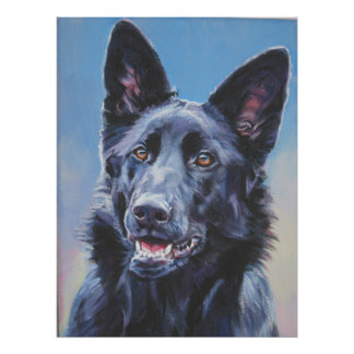 Black german shepherd Art Print