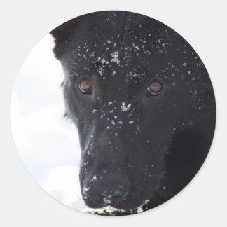 Black German Shepherd Classic Round Sticker