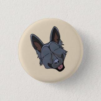 Black German Shepherd Dog Smiling 1 Inch Round Button
