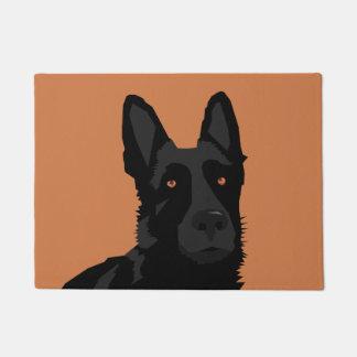 Black German Shepherd Door Mat