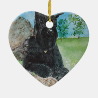 Black Giant Schnauzer Ceramic Ornament