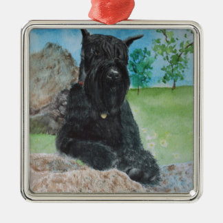 Black Giant Schnauzer Metal Ornament