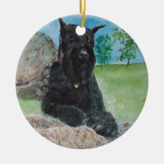 Black Giant Schnauzer Round Ceramic Ornament
