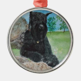 Black Giant Schnauzer Silver-Colored Round Ornament
