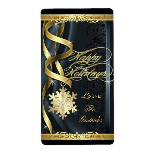 Black Gilded Snowflake Dreams Holiday Wine Label