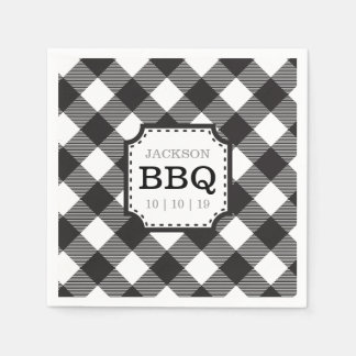 Black Gingham Checkered Pattern Paper Napkin