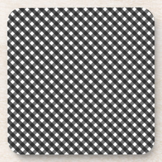 Black Gingham Pattern Coaster