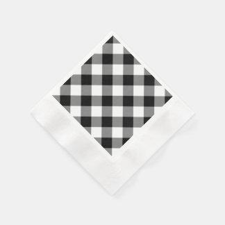 Black Gingham Pattern Paper Napkin