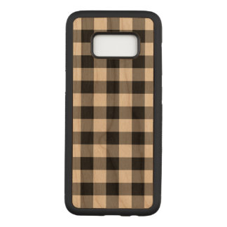 Black Gingham Plaid on Cherry Wood Inlay Carved Samsung Galaxy S8 Case