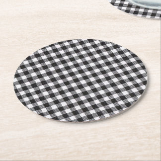 Black Gingham Round Paper Coaster