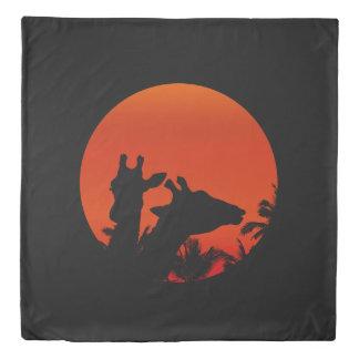 Black Giraffes Silhouettes Sun Sunset In Africa Duvet Cover