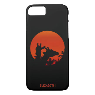 Black Giraffes Silhouettes Sun Sunset In Africa iPhone 8/7 Case