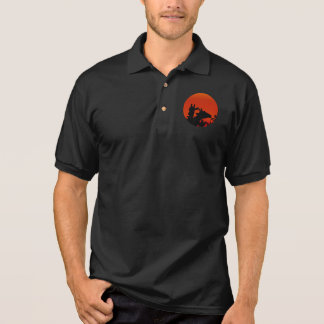 Black Giraffes Silhouettes Sun Sunset In Africa Polo Shirt