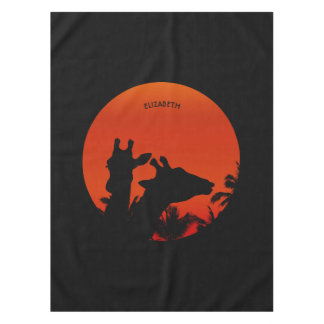 Black Giraffes Silhouettes Sun Sunset In Africa Tablecloth