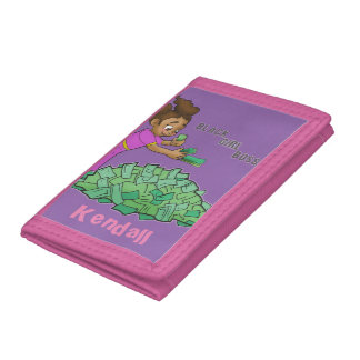Black Girl Boss Pink Wallet Customized with Name