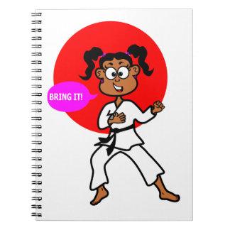Black Girl Karate Master Journal Spiral Note Book