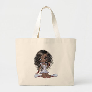 Black girl with green eyes large tote bag