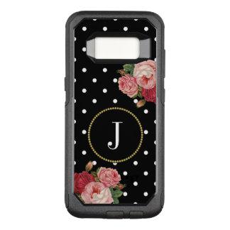 Black Girly Polka Dots Vintage Flowers Monogram OtterBox Commuter Samsung Galaxy S8 Case