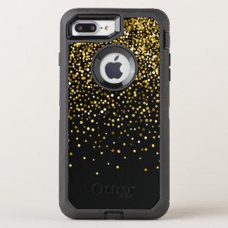 Black Glam Gold Confetti Custom Monogram. OtterBox Defender iPhone 8 Plus/7 Plus Case
