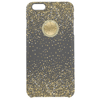 Black & Glam Gold Glitter Confetti Design 04 Clear iPhone 6 Plus Case