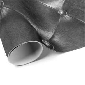 Black Glam Puffed Leather Minimal Luxury Geometry Wrapping Paper