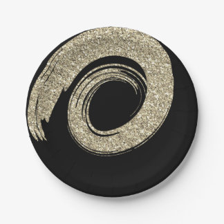Black Glam VIP Gold Spiral Glitter Foxier Paper Plate