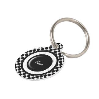 Black glass button dot design pet ID tag