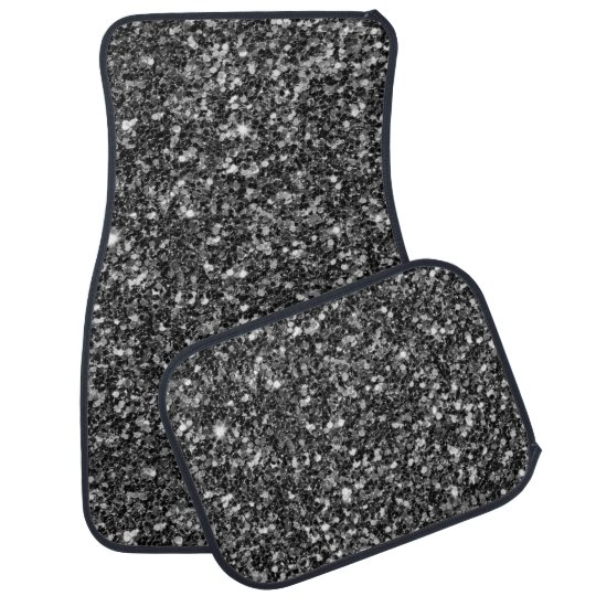 Black Glitter And White Sparks Pattern Car Mat