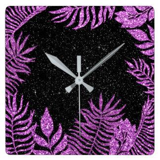 Black Glitter Fuchsia Botanic Floral Pink Rose Square Wall Clock