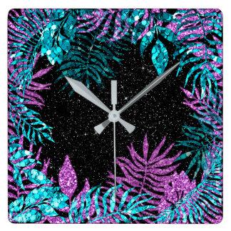 Black Glitter Fuchsia Spark Blue Floral Pink Rose Square Wall Clock