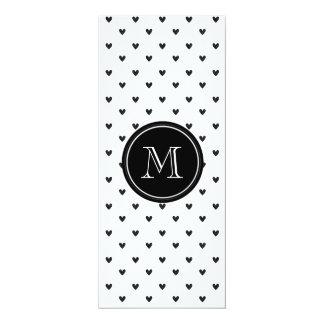 "Black Glitter Hearts with Monogram 4"" X 9.25"" Invitation Card"