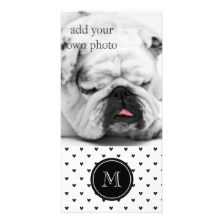 Black Glitter Hearts with Monogram Photo Card Template
