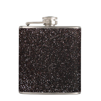 Black glitter hip flask