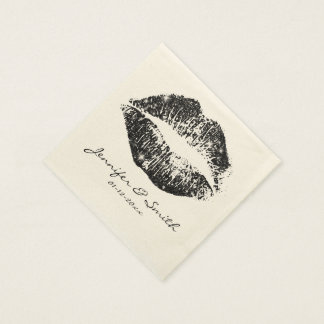Black Glitter Lips #2 Disposable Napkins