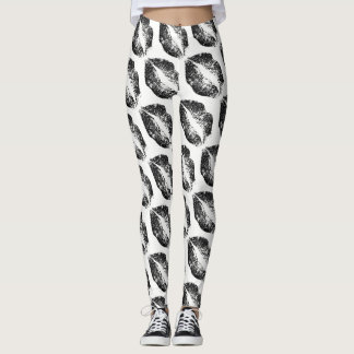 Black Glitter Lips Modern White Leggings