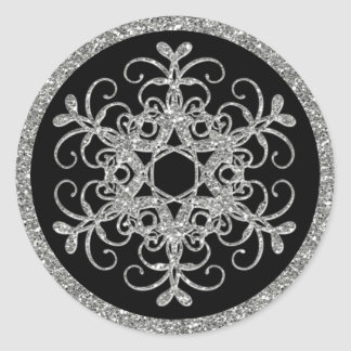 Black, Glitter LOOK Snowflake Wedding Sticker
