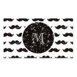 Black Glitter Moustache Pattern Your Monogram Business Card