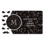 Black Glitter Moustache Pattern Your Monogram Pack Of Standard Business Cards